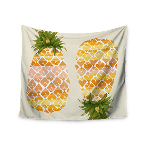 "Judith Loske ""Happy Pineapples "" Yellow Gold Wall Tapestry - KESS InHouse  - 1"