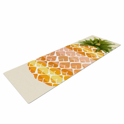 "Judith Loske ""Happy Pineapples "" Yellow Gold Yoga Mat - KESS InHouse  - 1"