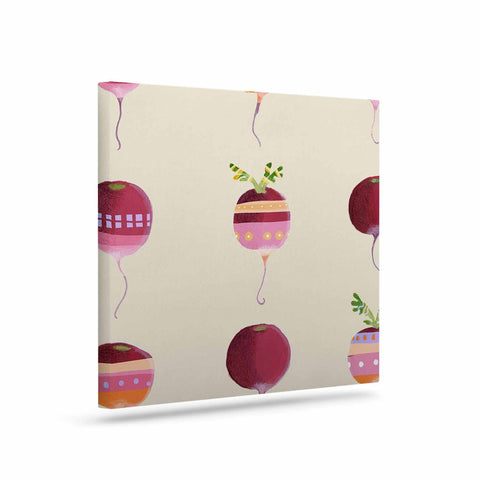 "Judith Loske ""Happy Radishes "" Ped Pink Canvas Art - KESS InHouse  - 1"