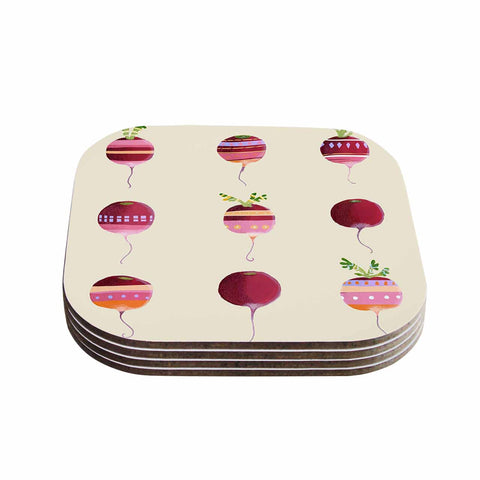 "Judith Loske ""Happy Radishes "" Ped Pink Coasters (Set of 4)"