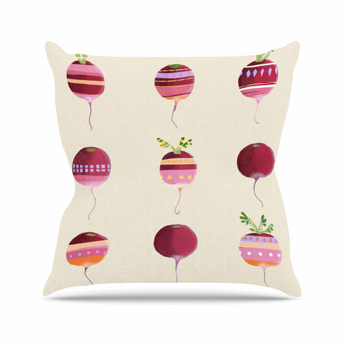 "Judith Loske ""Happy Radishes "" Ped Pink Outdoor Throw Pillow - KESS InHouse  - 1"