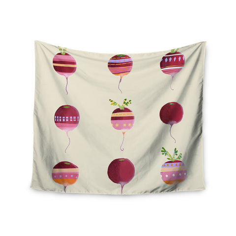 "Judith Loske ""Happy Radishes "" Ped Pink Wall Tapestry - KESS InHouse  - 1"
