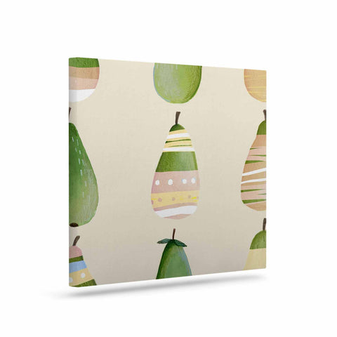 "Judith Loske ""Happy Pears"" Green Gold Canvas Art - KESS InHouse  - 1"