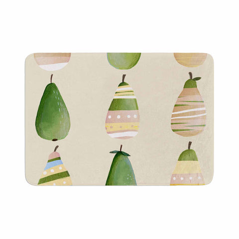 "Judith Loske ""Happy Pears"" Green Gold Memory Foam Bath Mat - KESS InHouse"