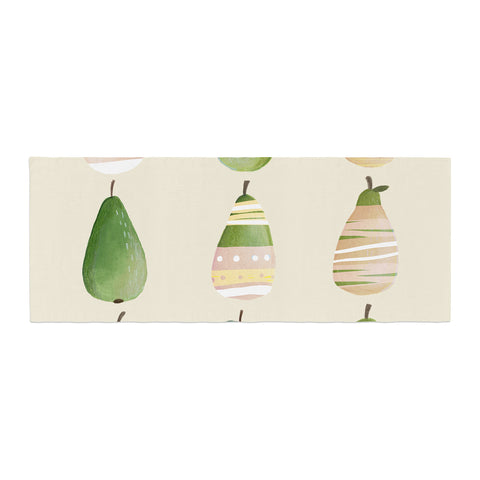 "Judith Loske ""Happy Pears"" Green Gold Bed Runner - KESS InHouse"