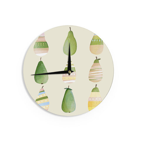 "Judith Loske ""Happy Pears"" Green Gold Wall Clock - KESS InHouse"
