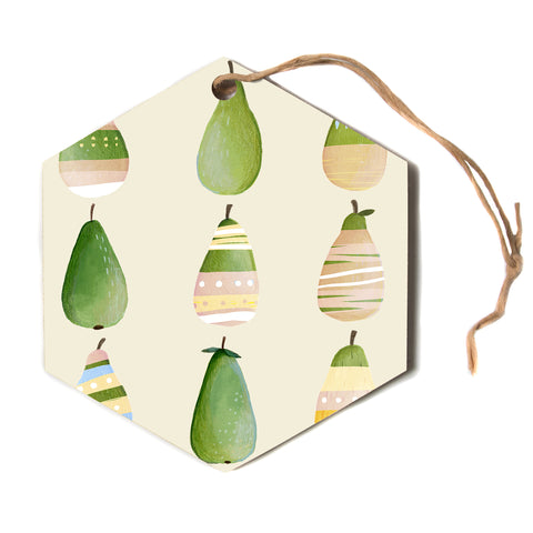 "judith Loske ""Happy Pears""  Hexagon Holiday Ornament"