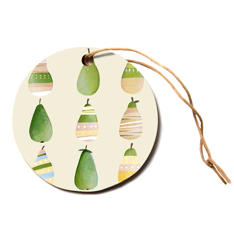 "judith Loske ""Happy Pears""  Circle Holiday Ornament"