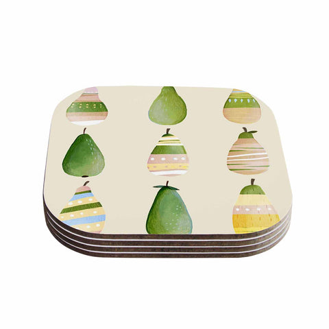 "Judith Loske ""Happy Pears"" Green Gold Coasters (Set of 4)"