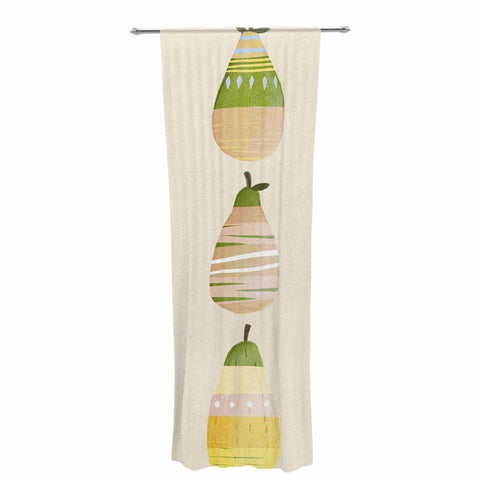"Judith Loske ""Happy Pears"" Green Gold Decorative Sheer Curtain - KESS InHouse  - 1"