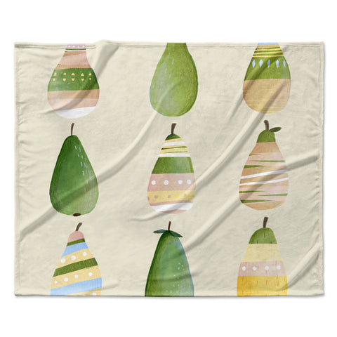 "Judith Loske ""Happy Pears"" Green Gold Fleece Throw Blanket"