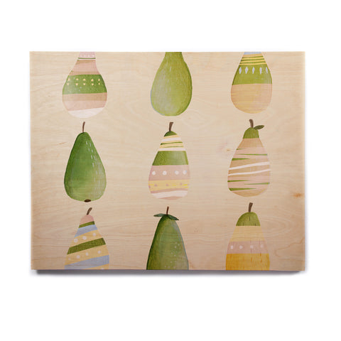 "Judith Loske ""Happy Pears"" Green Gold Birchwood Wall Art - KESS InHouse  - 1"