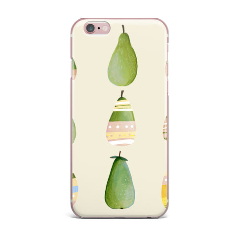 "Judith Loske ""Happy Pears"" Green Gold iPhone Case - KESS InHouse"