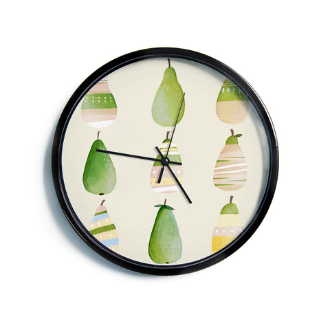 "Judith Loske ""Happy Pears""  Modern Wall Clock"