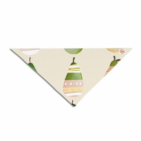 "Judith Loske ""Happy Pears"" Green Gold Pet Bandana - KESS InHouse  - 1"