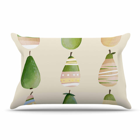 "Judith Loske ""Happy Pears"" Green Gold Pillow Sham - KESS InHouse  - 1"