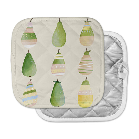 "Judith Loske ""Happy Pears"" Green Gold Pot Holder"