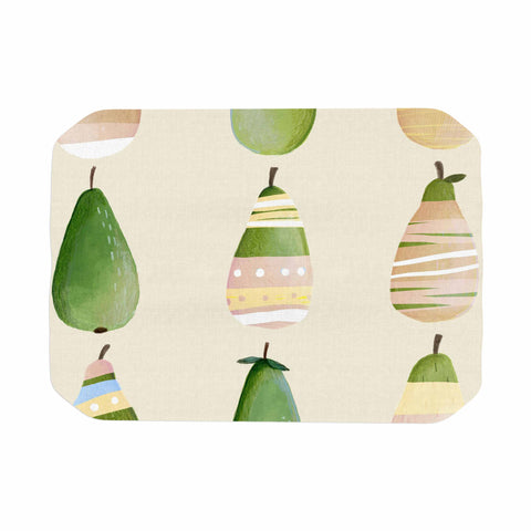 "Judith Loske ""Happy Pears"" Green Gold Place Mat - KESS InHouse"
