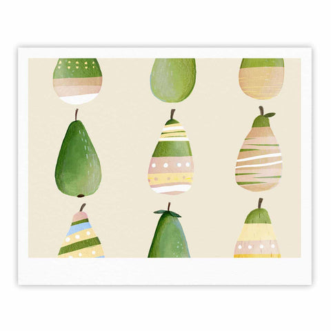 "Judith Loske ""Happy Pears"" Green Gold Fine Art Gallery Print - KESS InHouse"