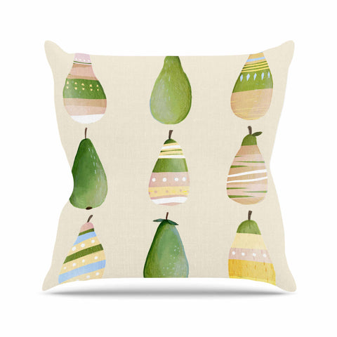 "Judith Loske ""Happy Pears"" Green Gold Throw Pillow - KESS InHouse  - 1"