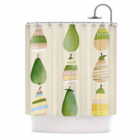 "Judith Loske ""Happy Pears"" Green Gold Shower Curtain - KESS InHouse"
