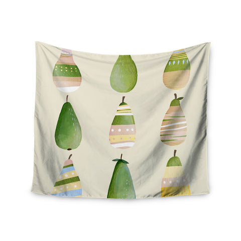 "Judith Loske ""Happy Pears"" Green Gold Wall Tapestry - KESS InHouse  - 1"