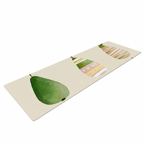 "Judith Loske ""Happy Pears"" Green Gold Yoga Mat - KESS InHouse  - 1"