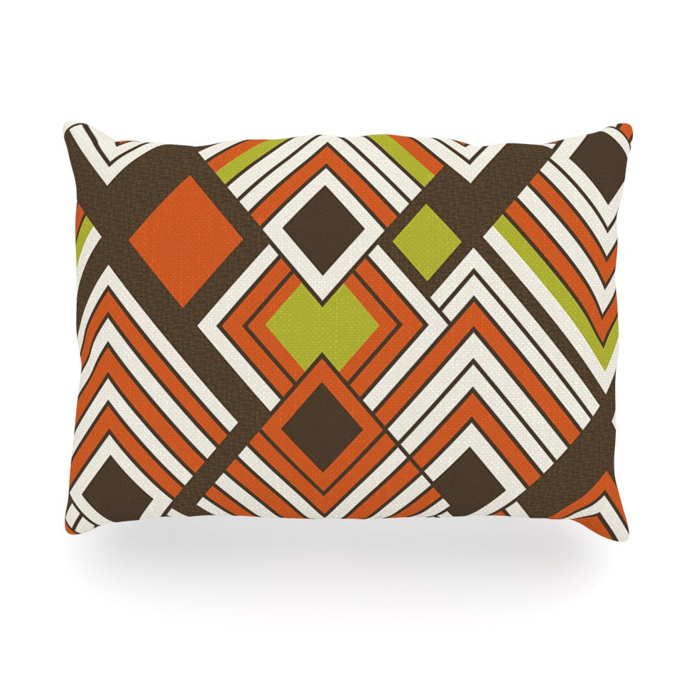 "Jacqueline Milton ""Luca - Coffee"" Brown Orange Oblong Pillow - KESS InHouse"