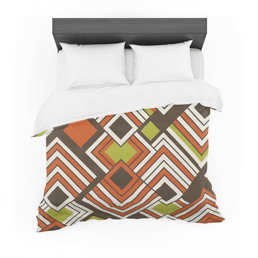 "Jacqueline Milton ""Luca - Coffee"" Brown Orange Cotton Duvet"