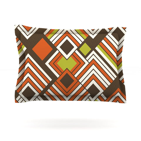 "Jacqueline Milton ""Luca - Coffee"" Brown Orange Pillow Sham - Outlet Item"
