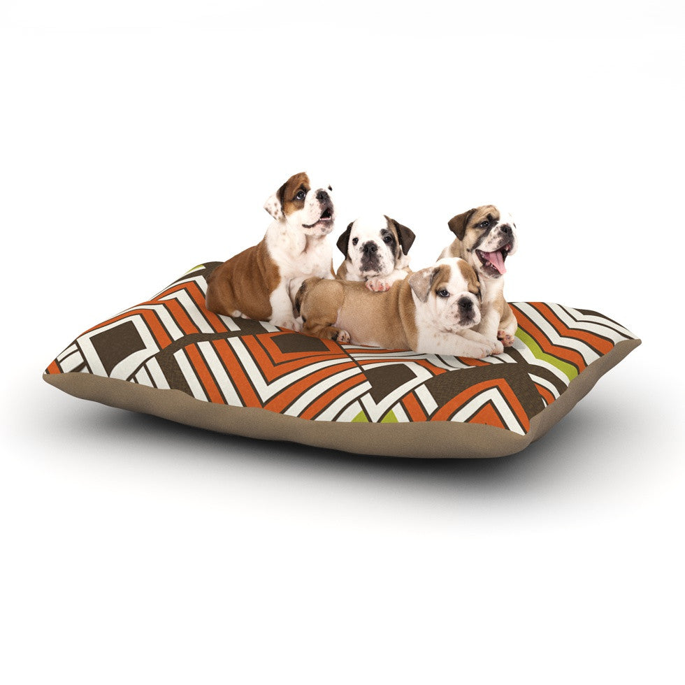 "Jacqueline Milton ""Luca - Coffee"" Brown Orange Dog Bed - KESS InHouse  - 1"