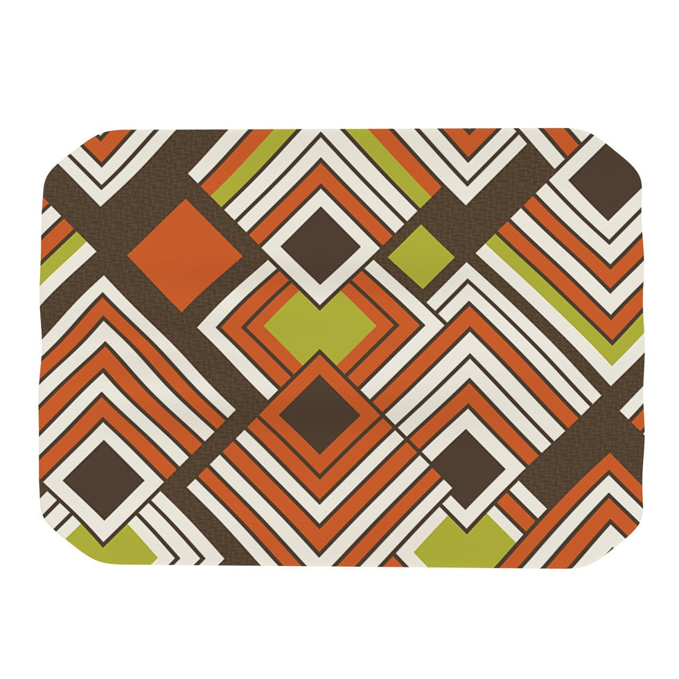 "Jacqueline Milton ""Luca - Coffee"" Brown Orange Place Mat - KESS InHouse"