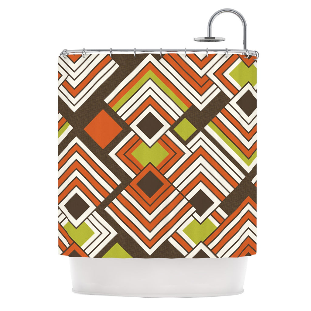 "Jacqueline Milton ""Luca - Coffee"" Brown Orange Shower Curtain - KESS InHouse"