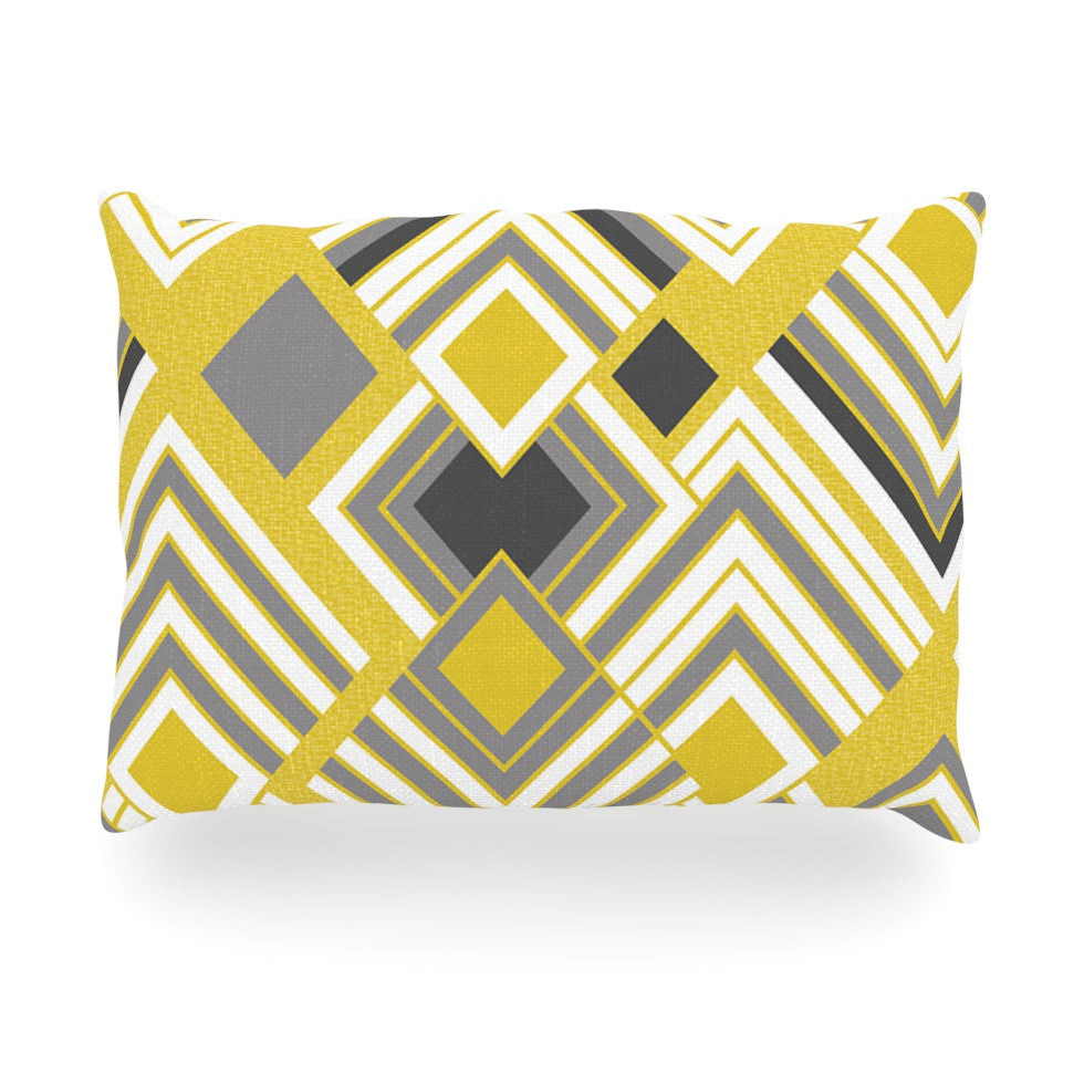 "Jacqueline Milton ""Luca - Gold"" Yellow Gray Oblong Pillow - KESS InHouse"