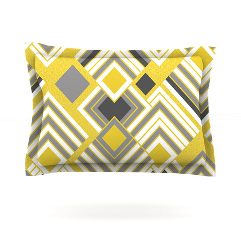 "Jacqueline Milton ""Luca - Gold"" Yellow Gray Pillow Sham - Outlet Item"