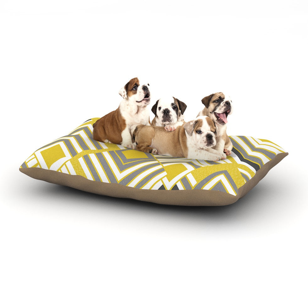 "Jacqueline Milton ""Luca - Gold"" Yellow Gray Dog Bed - KESS InHouse"