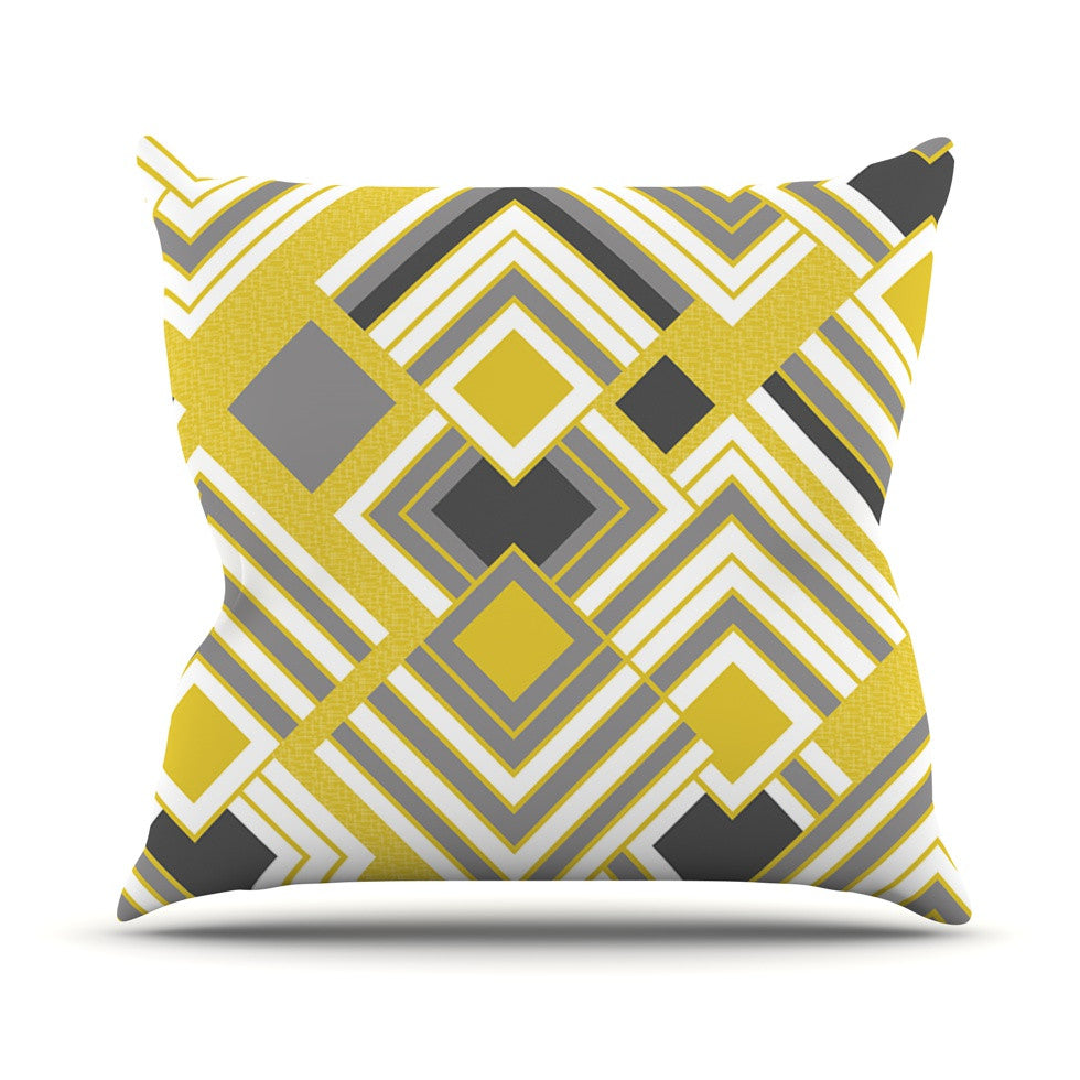 "Jacqueline Milton ""Luca - Gold"" Yellow Gray Throw Pillow - KESS InHouse  - 1"