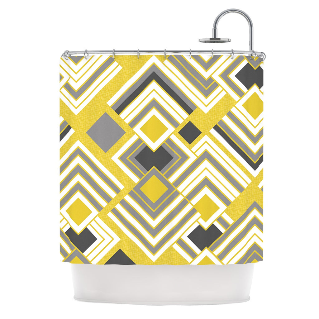 "Jacqueline Milton ""Luca - Gold"" Yellow Gray Shower Curtain - KESS InHouse"