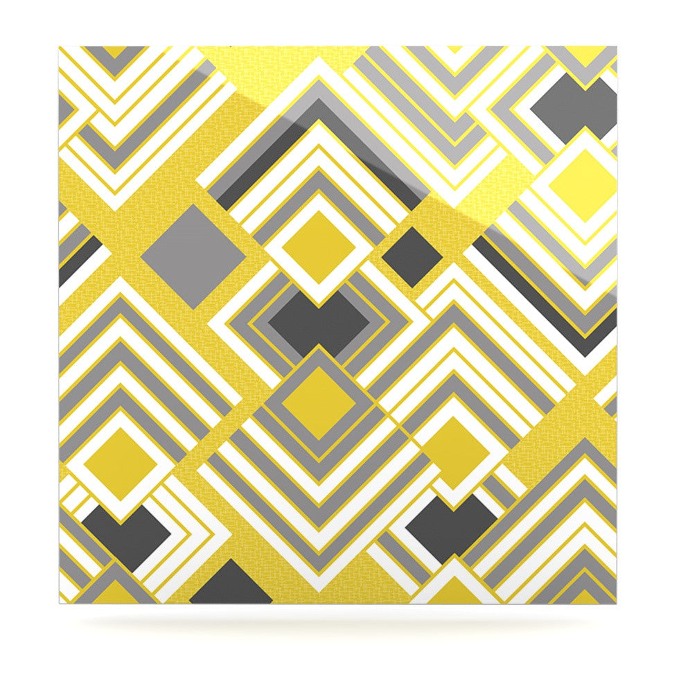 "Jacqueline Milton ""Luca - Gold"" Yellow Gray Luxe Square Panel - KESS InHouse"