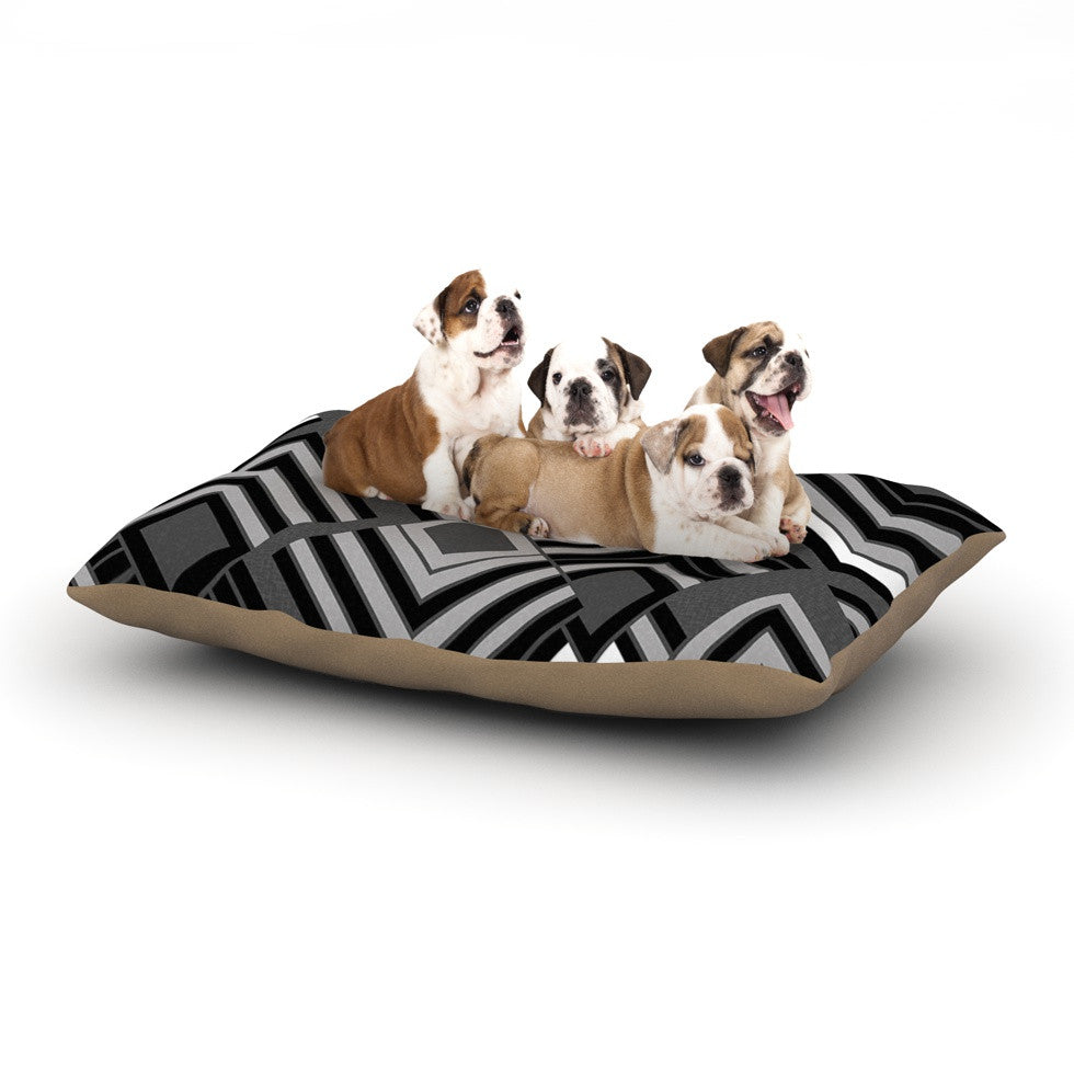 "Jacqueline Milton ""Luca - Monochrome"" Black White Dog Bed - KESS InHouse  - 1"
