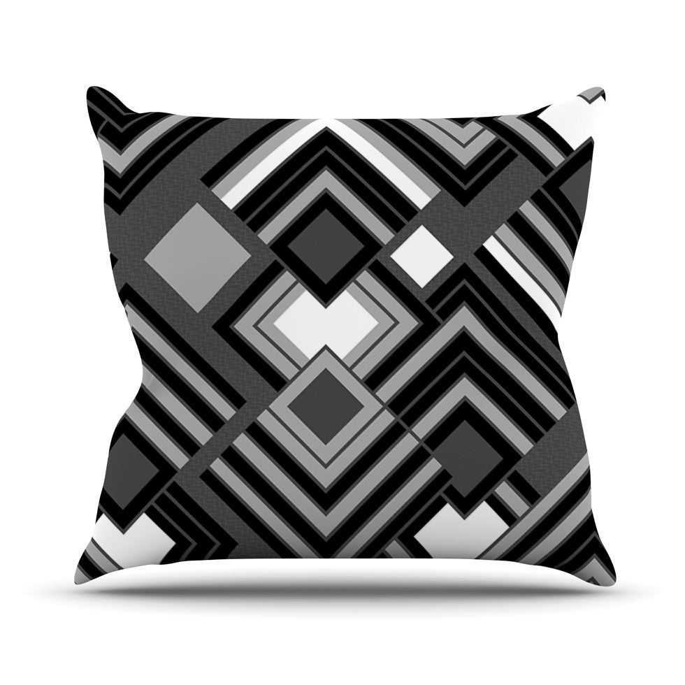 "Jacqueline Milton ""Luca - Monochrome"" Black White Outdoor Throw Pillow - KESS InHouse  - 1"