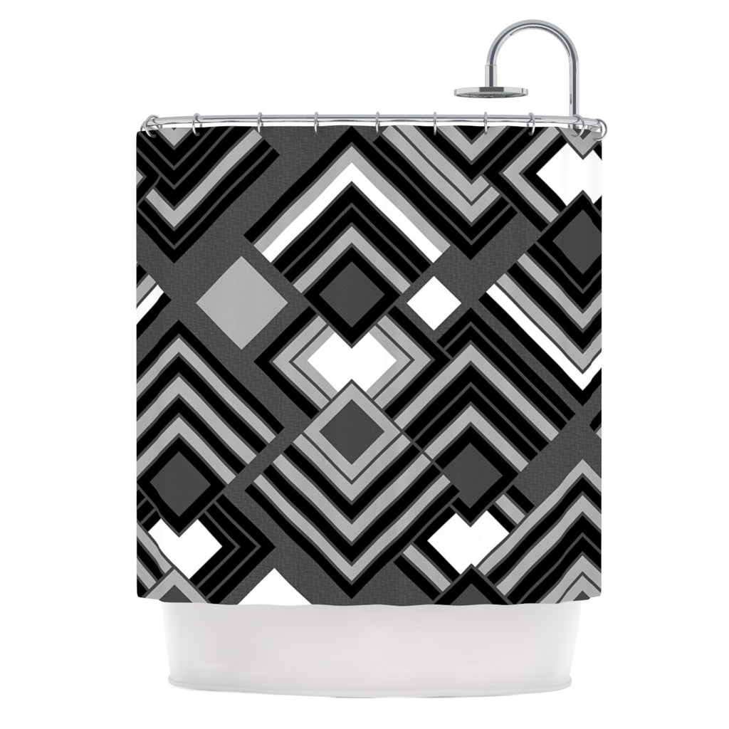 "Jacqueline Milton ""Luca - Monochrome"" Black White Shower Curtain - KESS InHouse"