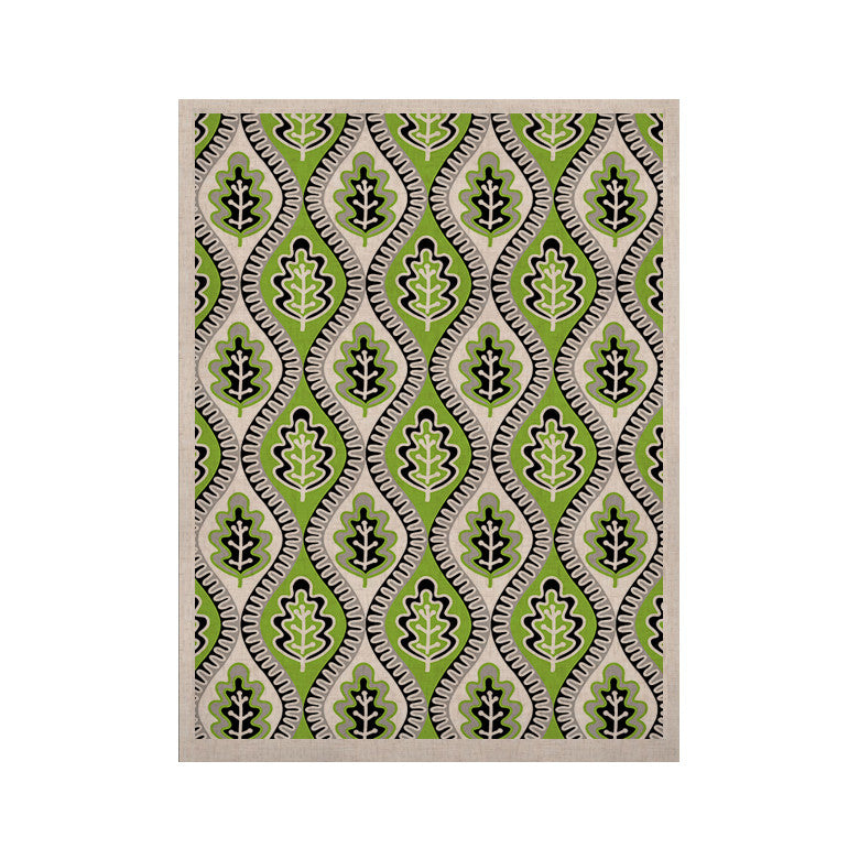 "Jacqueline Milton ""Oak Leaf - Lime"" Green Floral KESS Naturals Canvas (Frame not Included) - KESS InHouse  - 1"