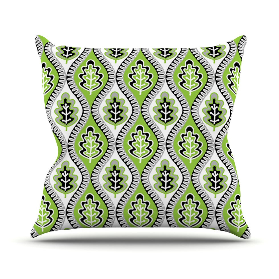 "Jacqueline Milton ""Oak Leaf - Lime"" Green Floral Outdoor Throw Pillow - KESS InHouse  - 1"