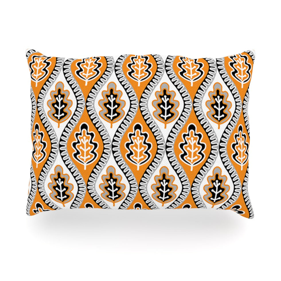 "Jacqueline Milton ""Oak Leaf - Orange"" Floral Orange Oblong Pillow - KESS InHouse"