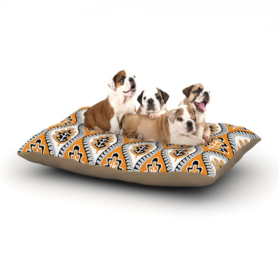 "Jacqueline Milton ""Oak Leaf - Orange"" Floral Orange Dog Bed - KESS InHouse  - 1"
