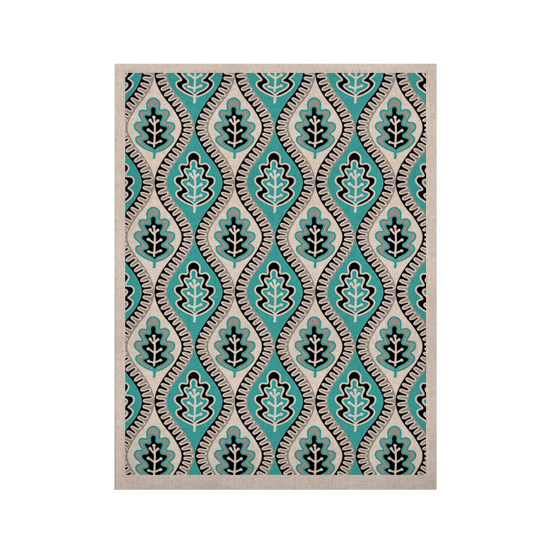 "Jacqueline Milton ""Oak Leaf - Turquoise"" Floral Blue KESS Naturals Canvas (Frame not Included) - KESS InHouse  - 1"