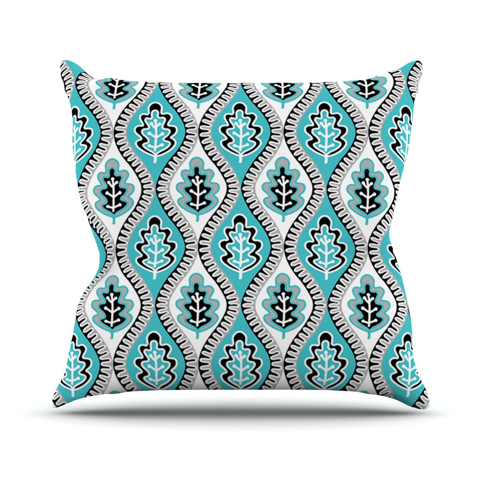 "Jacqueline Milton ""Oak Leaf - Turquoise"" Floral Blue Outdoor Throw Pillow - KESS InHouse  - 1"