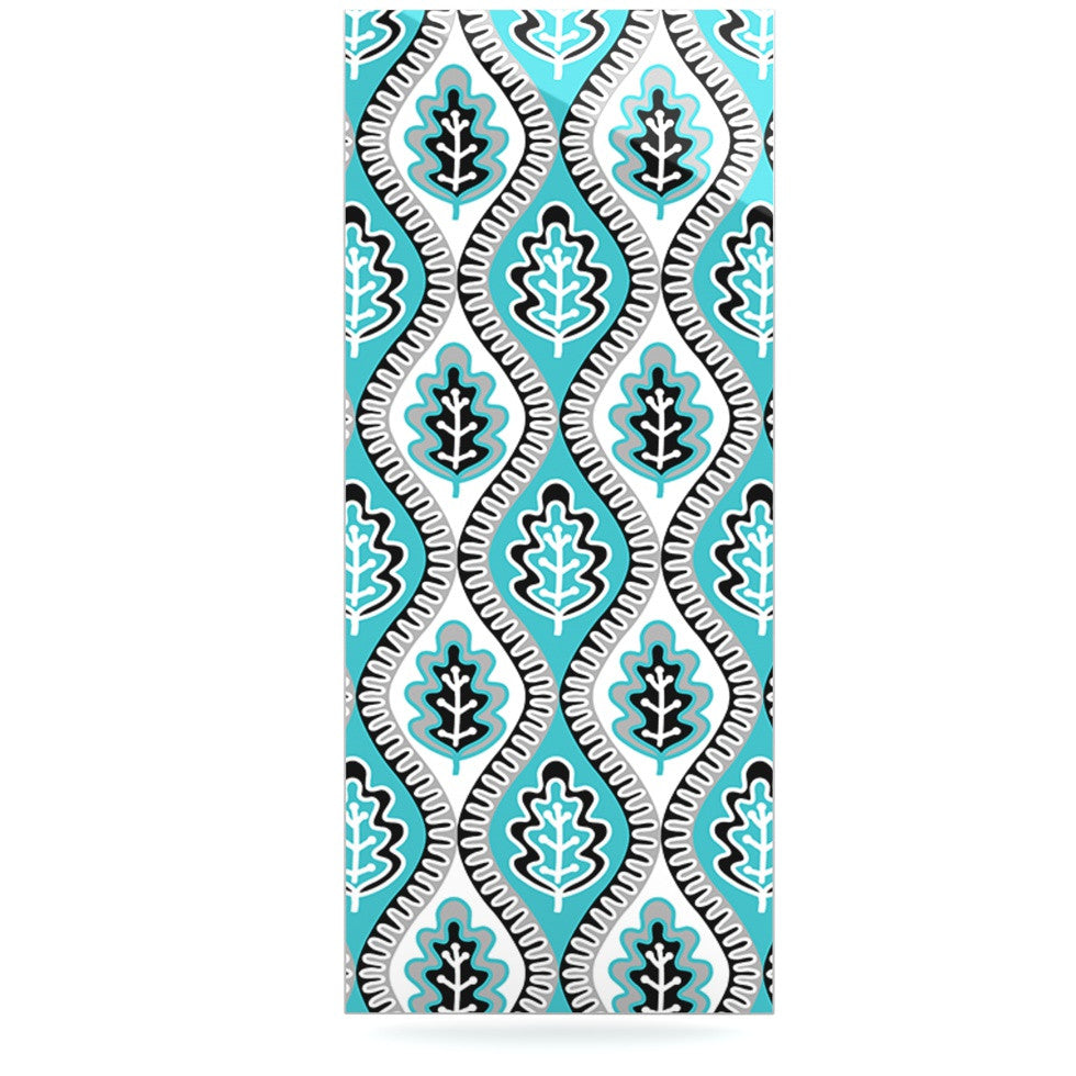 "Jacqueline Milton ""Oak Leaf - Turquoise"" Floral Blue Luxe Rectangle Panel - KESS InHouse  - 1"