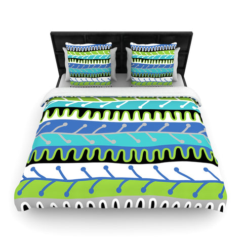 "Jacqueline Milton ""Salsa Blue"" Aqua Green Woven Duvet Cover - Outlet Item"
